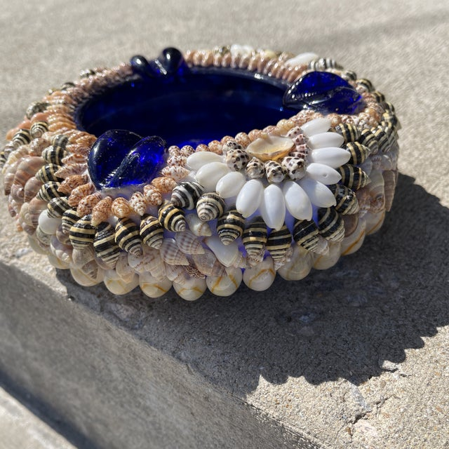 Nautical Large Shell Encrusted Ashtray Blue Glass For Sale - Image 3 of 10