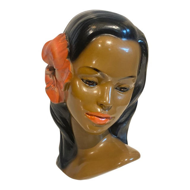 1950s Tiki Mid-Century Hawaiian Wahine Chalkware Womans Bust For Sale