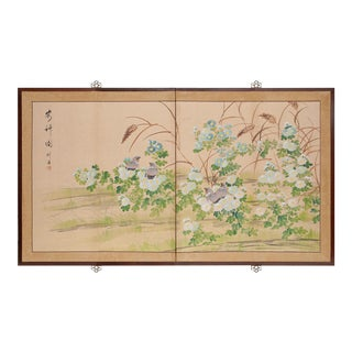 """""""Partridges and Asters"""" Vintage Asian Silk Screen For Sale"""