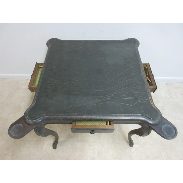 Gothic Antique Italian Regency Carved Leather Top Game Table For Sale - Image 3 of 9