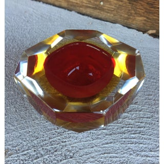 1970s Contemporary Red Murano Sommerso Faceted Art Glass Bowl Preview