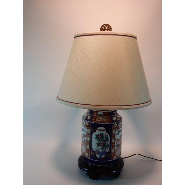 Imari Porcelain Japanese Imari Ginger Jar Lamp & Silk Shade For Sale - Image 4 of 9