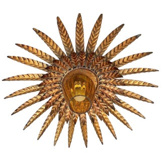 Mid Century Unusual Sunburst Ceiling Fixture With Glass Tulip For Sale