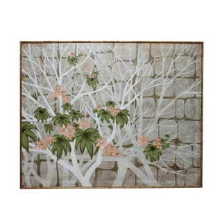 Vintage Mid-Century Lee Reynolds Gold Bamboo Acrylic Painting For Sale