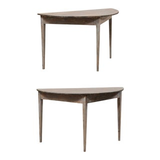 Pair of Swedish 19th Century Demilune Tables of Painted Wood in Blue Grey For Sale