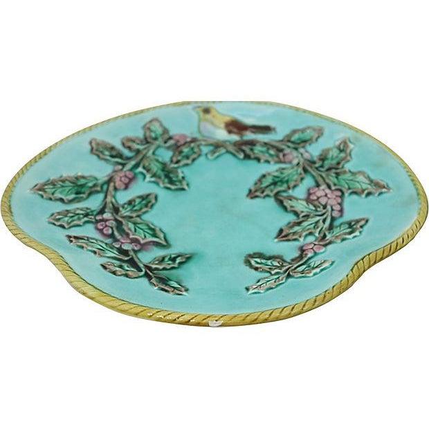 Antique Majolica Serving Plates w/ Birds - Image 2 of 4