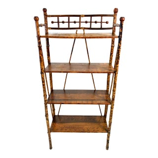 Antique Victorian Scorched Bamboo Etagere Bookcase Stick & Ball For Sale