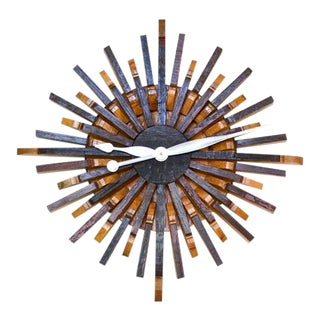 "Modern ""Radiant Clock"" Wine Barrel Wall Art For Sale"
