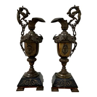 Pair of 19th Century Copper Plate Spelter Ewers For Sale