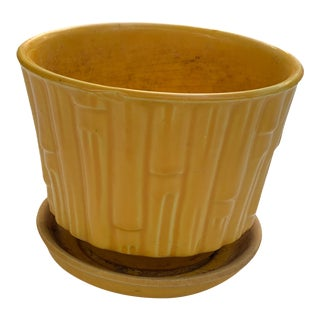 1950s Boho McCoy Faux Bamboo Yellow Ceramic Planter For Sale