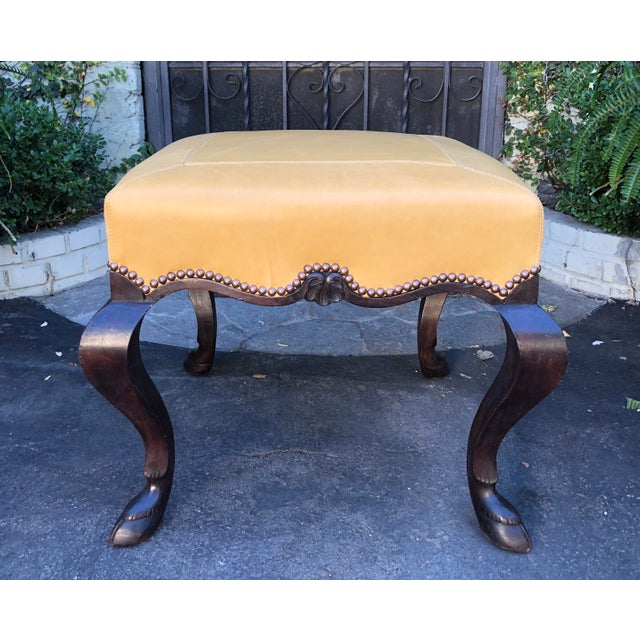 2010s Carved Italian Walnut Designer Ottoman Bench by Randy Esada Designs for Prospr For Sale - Image 5 of 5