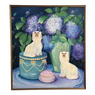 Large Vintage Original Palm Beach Chinoiserie Style Blue & White Staffordshire Style Dog Still Life Framed Painting For Sale