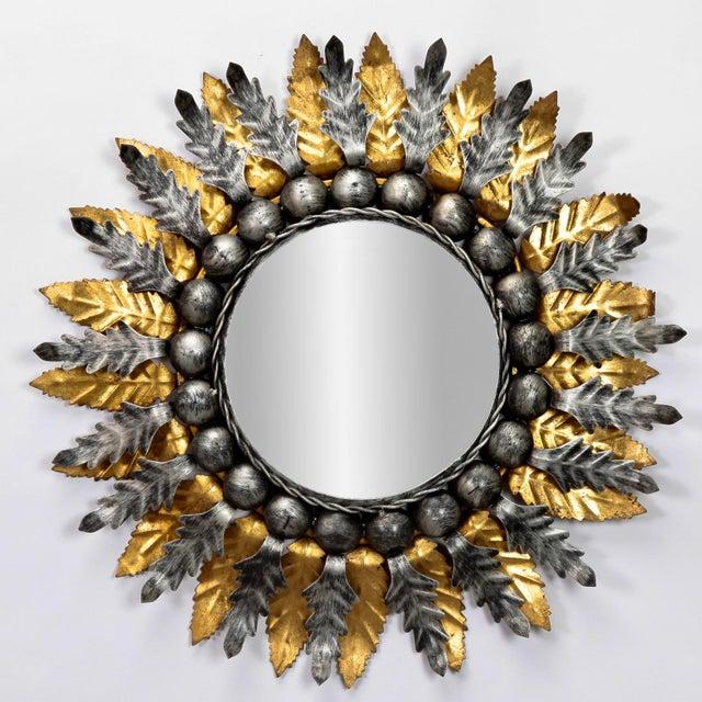Mid Century Spanish Gilt and Silver Metal Sunburst Mirrors - A Pair - Image 3 of 9