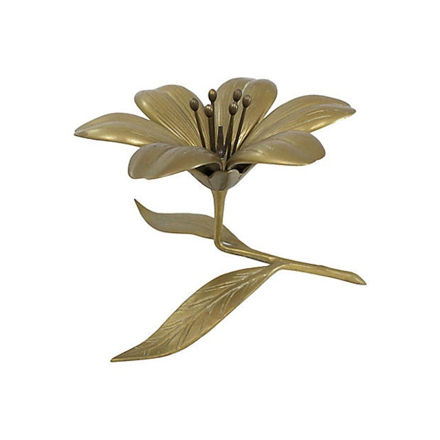 Mid 20th Century Brass Sculptural Flower Ashtray For Sale - Image 5 of 6