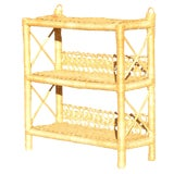 Image of Vintage 3-Tier Wrapped Rattan Wicker Shelf For Sale