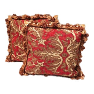 Fringed Aubusson Down Pillows - Set of 2 For Sale