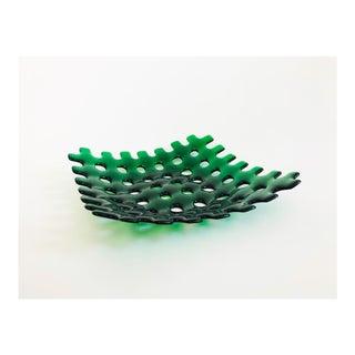 Large Vintage Gridded Green Art Glass Tray For Sale