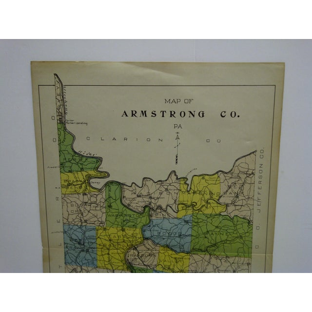 Early American Vintage Rand McNally 1911 Color Map of Armstrong County Pennsylvania For Sale - Image 3 of 7