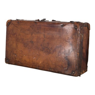Antique Leather Luggage C. 1940s For Sale