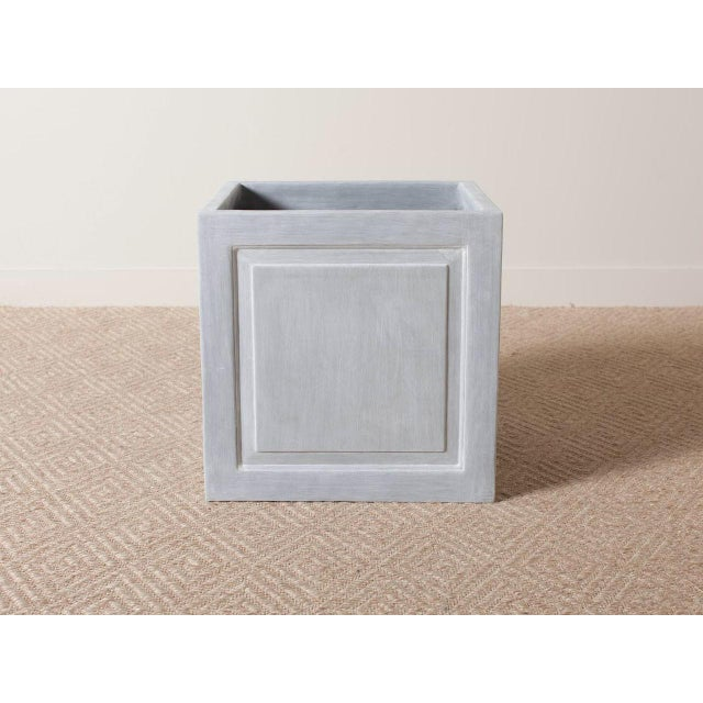 Cast outdoor resin square planter Simple recessed molding Lead grey finish