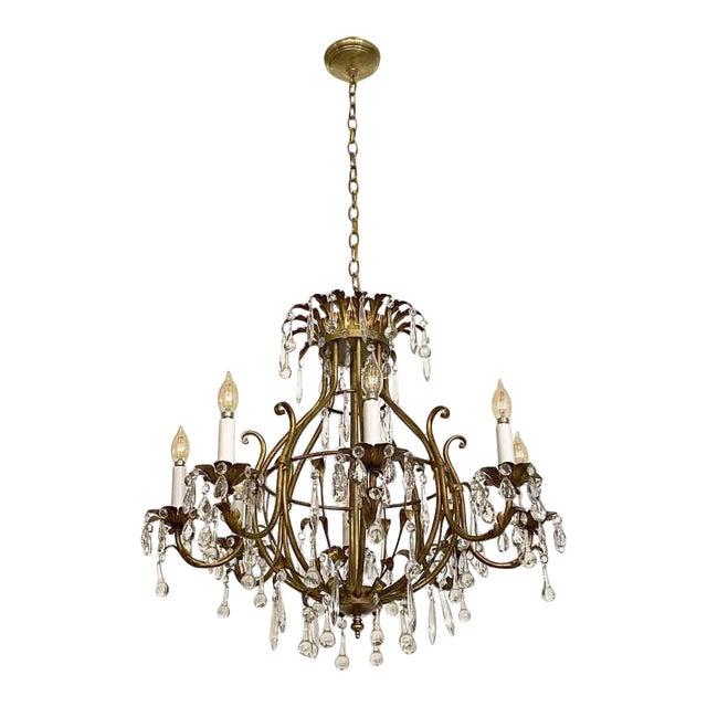 Florentine Style Crystal & Gilt Metal Chandelier For Sale