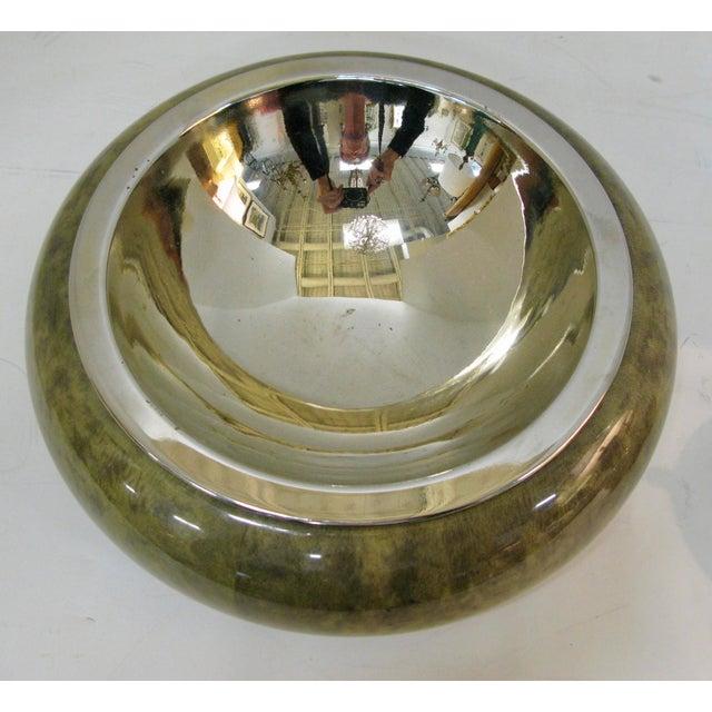 Aldo Tura Brass Bowl With & Cigarette Lighter Set, Jade Green Goat Skin by Aldo Tura For Sale - Image 4 of 13
