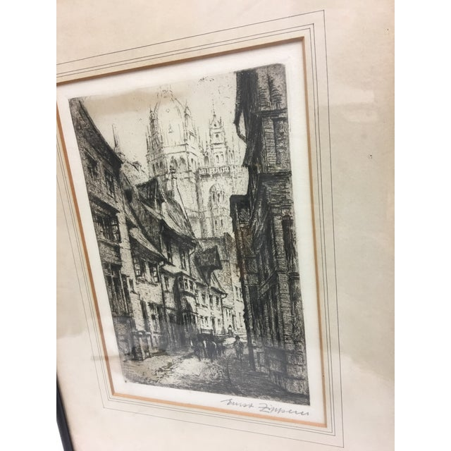 Traditional European City Street by Cathedral Etching For Sale - Image 3 of 8