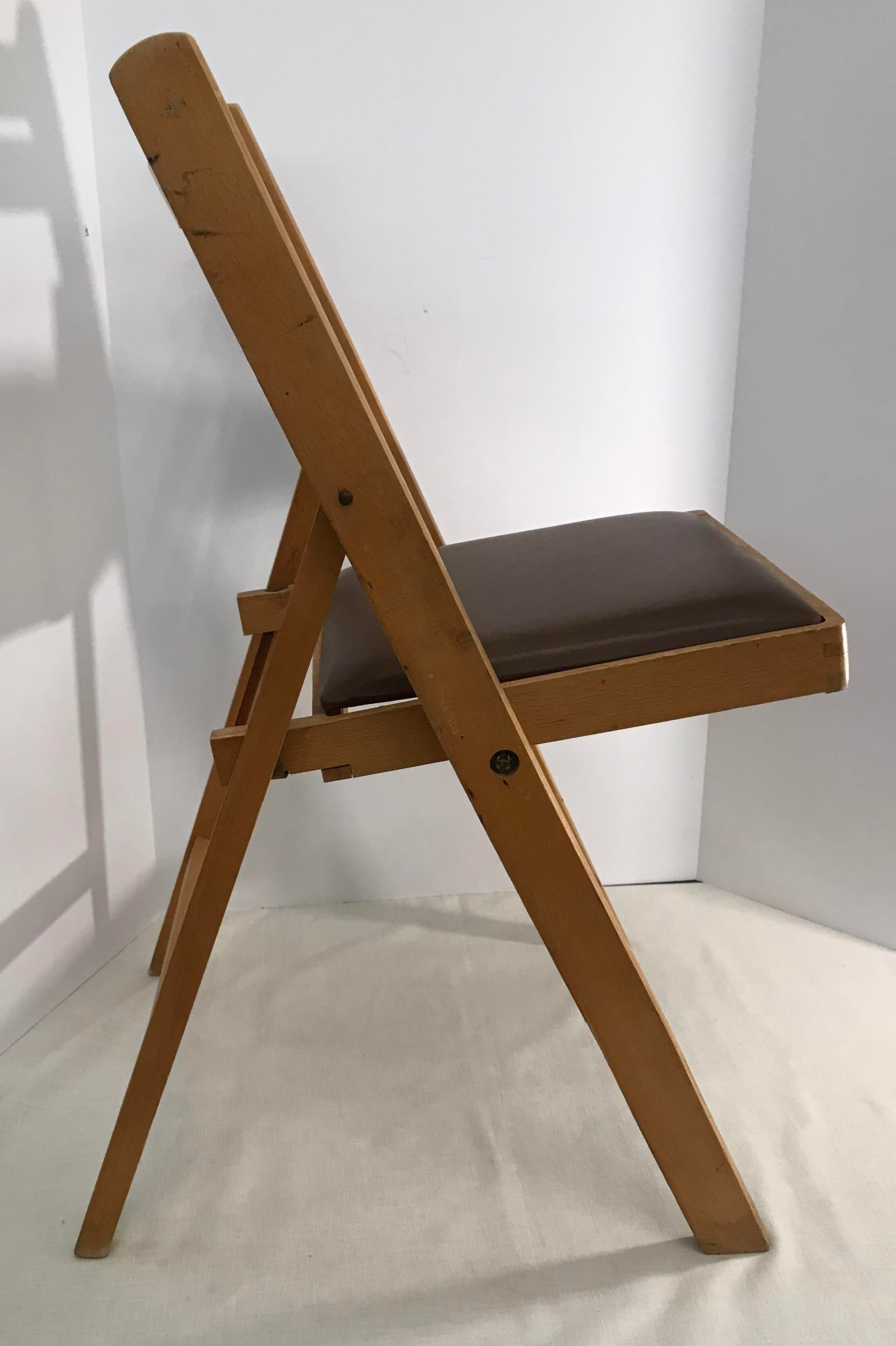 Vintage Wooden Folding Chair, Made In Romania   Image 6 Of 11