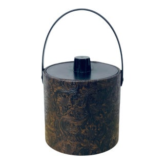 Vintage Mid-Century Embossed Leather Ice Bucket For Sale