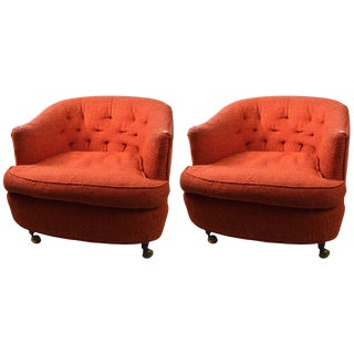 Pair of W & J Sloane Tub Chairs on Coasters For Sale