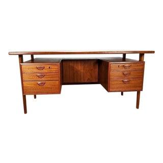 Danish Mid Century Modern Teak Executive Desk by Kai Kristiansen For Sale