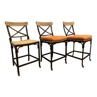 Century Maison Jardin Counter Stools - Set of 3 For Sale