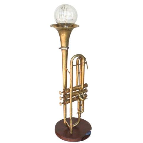 Vintage Brass Trumpet Lamp - Image 1 of 7
