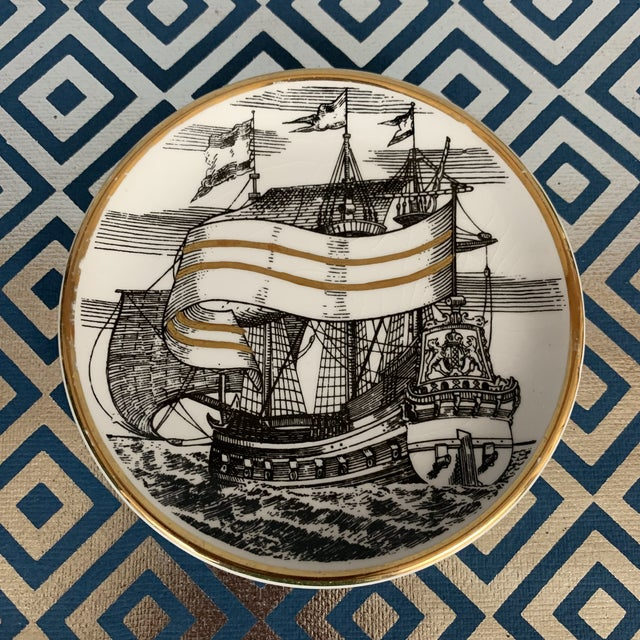 Ceramic Fornasetti Vintage Cocktail Coasters - Set of 5 For Sale - Image 7 of 13