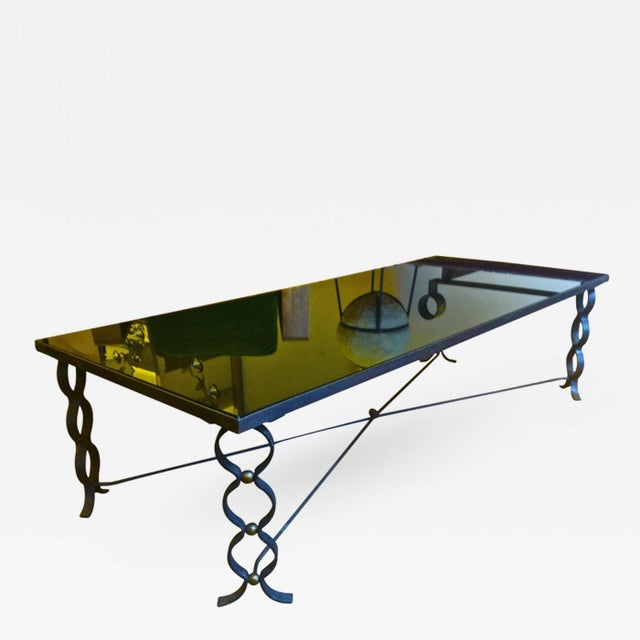 Jean Royere documented Long Coffee Table in Wrought Iron Model Ruban with Brass Balls