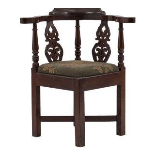 Georgian Oak Corner Arm Chair For Sale
