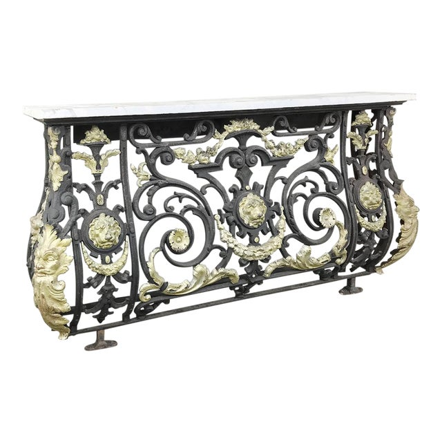 Napoleon III Period Cast Iron Marble Top Console For Sale