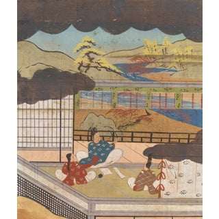 Kano School Landscape With Figures, C. 1880, Japanese Painting For Sale
