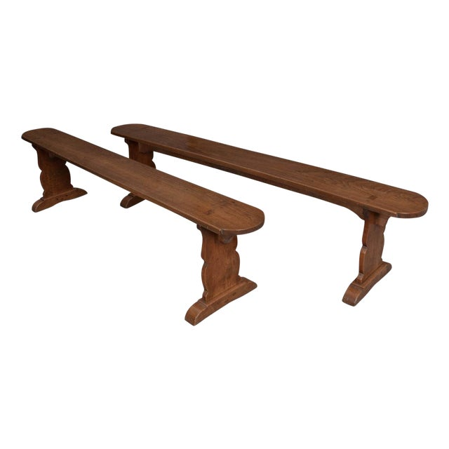 Pair of French 19th Century Provincial Oak Benches For Sale