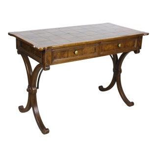 Mid Century Modern Walnut Burlwood Desk For Sale