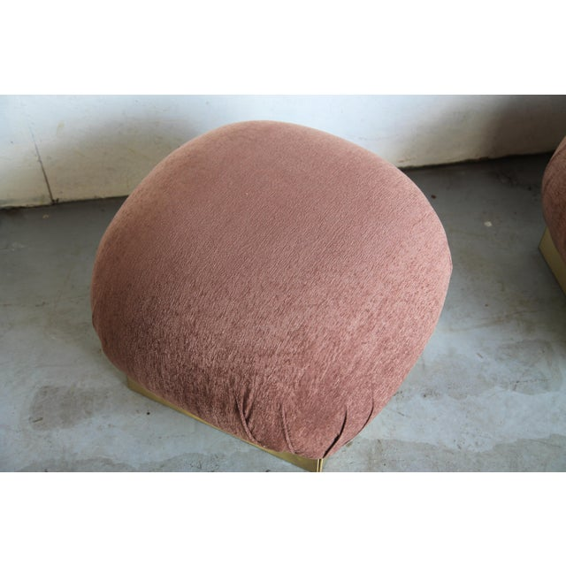 Mid-Century Modern 1970s Vintage Pouf Ottomans in the Style of Karl Springer - a Pair For Sale - Image 3 of 6