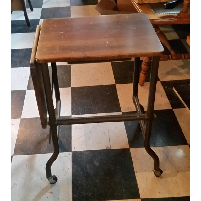 Traditional 1960s Traditional Ideal Sherman-Manson Wood/Metal Typewriter Table For Sale - Image 3 of 9