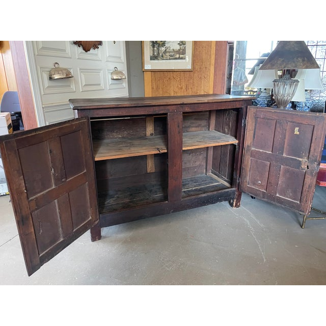 Metal Antique Rustic French Country Louis XIV Hardwood Two Door Storage Cupboard For Sale - Image 7 of 13