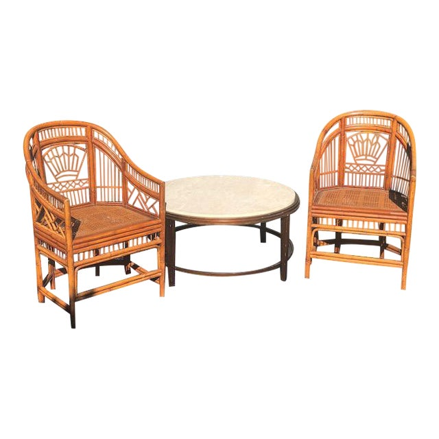 1990s Vintage Bali Bamboo Chairs & Table- Set of 3 For Sale