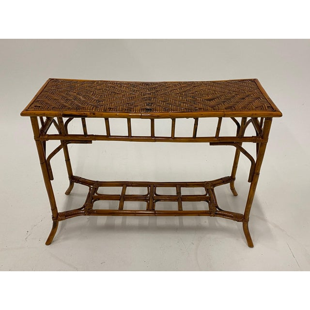 Brown Organic Modern Bamboo and Rattan Console For Sale - Image 8 of 12