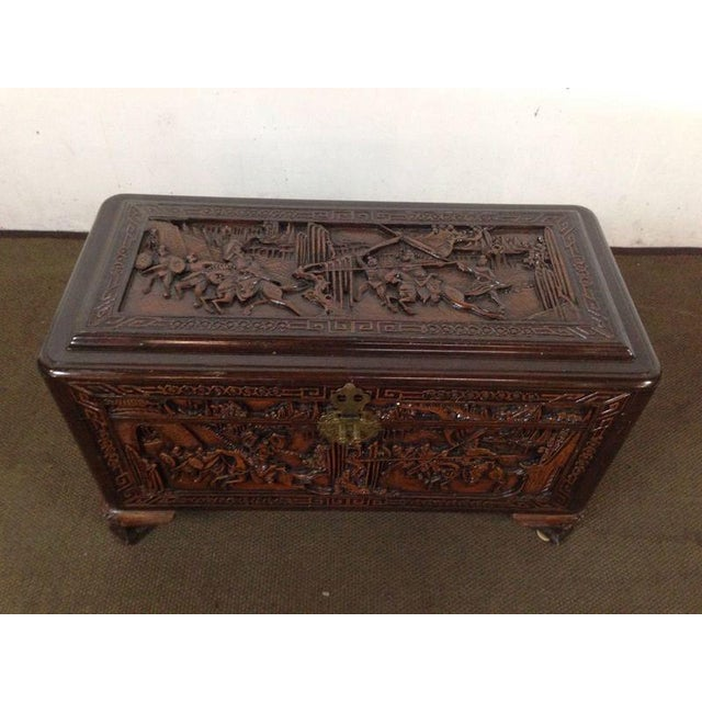 Chinese Carved Teak & Camphor Wood Chest - Image 3 of 11