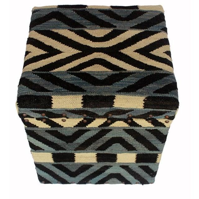 Asian Delois Blue/Ivory Kilim Upholstered Handmade Storage Ottoman For Sale - Image 3 of 8