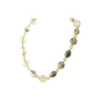 Yellow & Brown Faceted Glass Bead Necklace For Sale