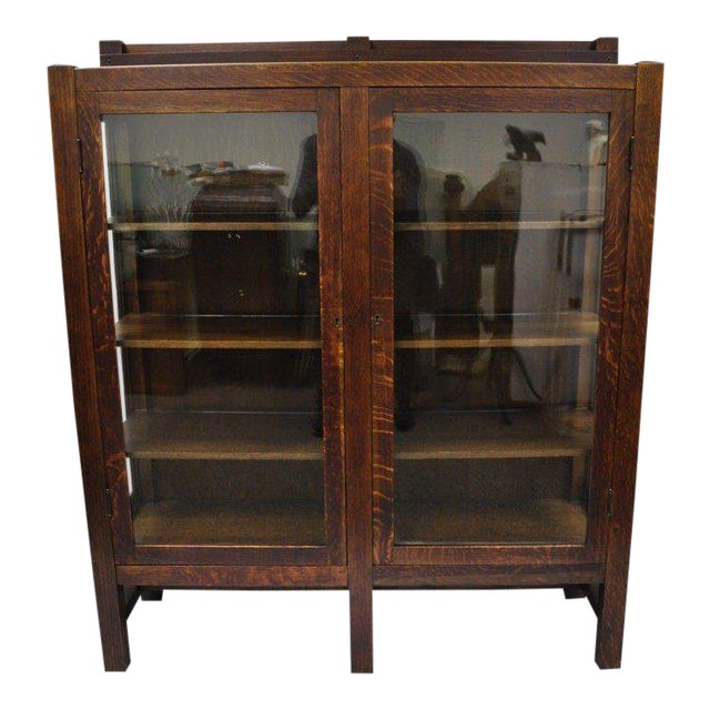 1900s Arts & Crafts Stickley Era Glass Double Door China Cabinet Bookcase For Sale