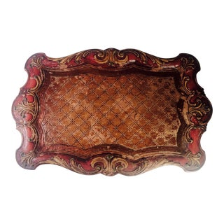 1950s French Giltwood Hand Carved and Painted Tray